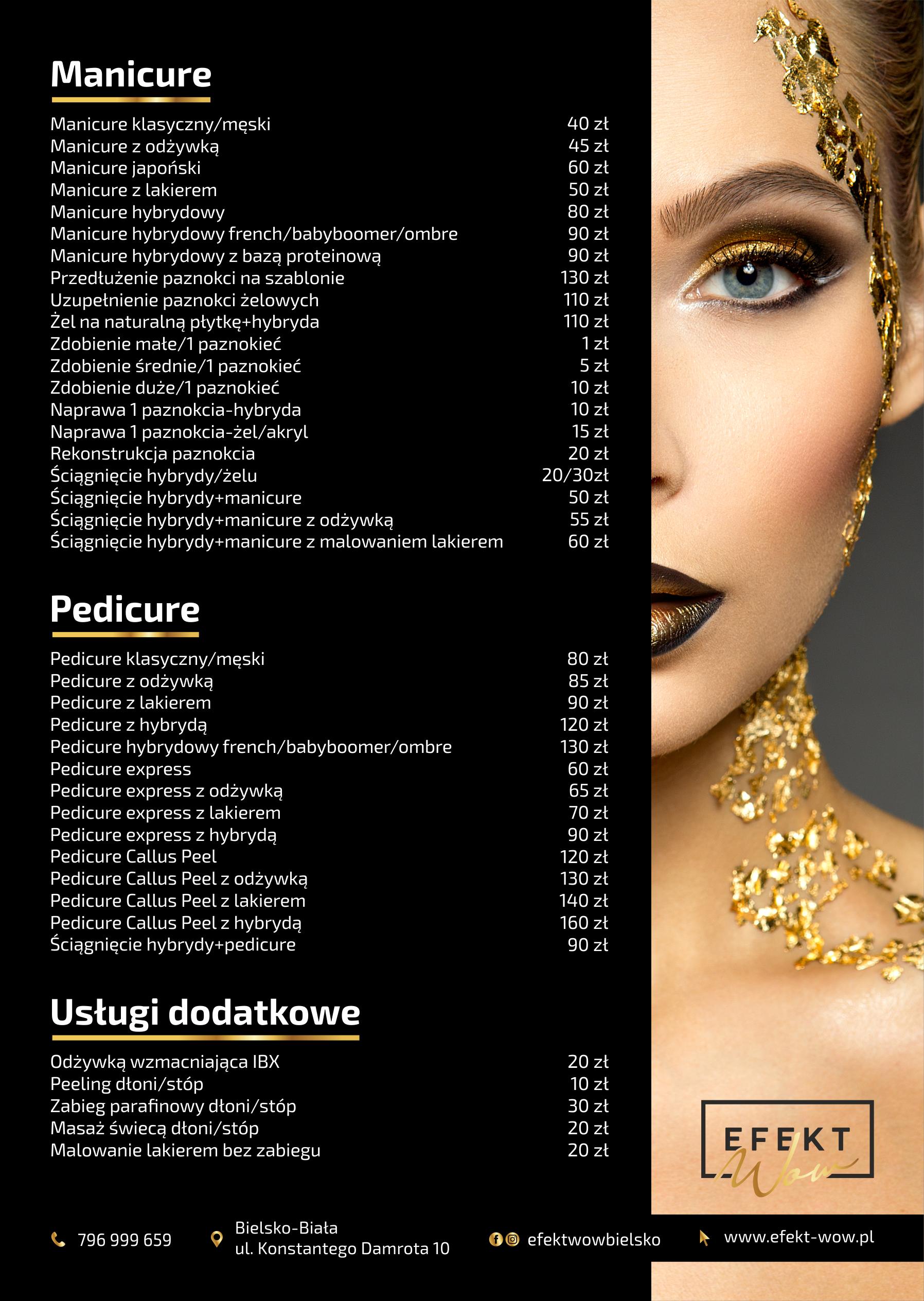 Salon Kosmetyczny Efekt WOW (Bielsko-Biała) - Cennik Usług